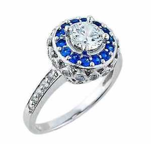 14k White Gold Art Deco Classic Clear CZ Engagement Ring 2.1MM Band