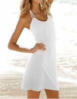 Ladies Summer Dress Fashion Beach Cover Up Halterneck Black Pink Blue 8 10 12 14