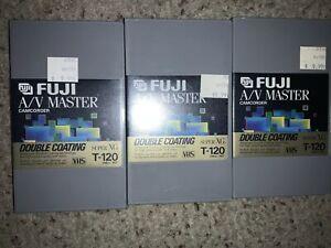 Lot-3-Blank-VHS-Tape-FUJI-A-V-Master-Camcorder-Super-XG-T-120-Sealed-In-Plastic