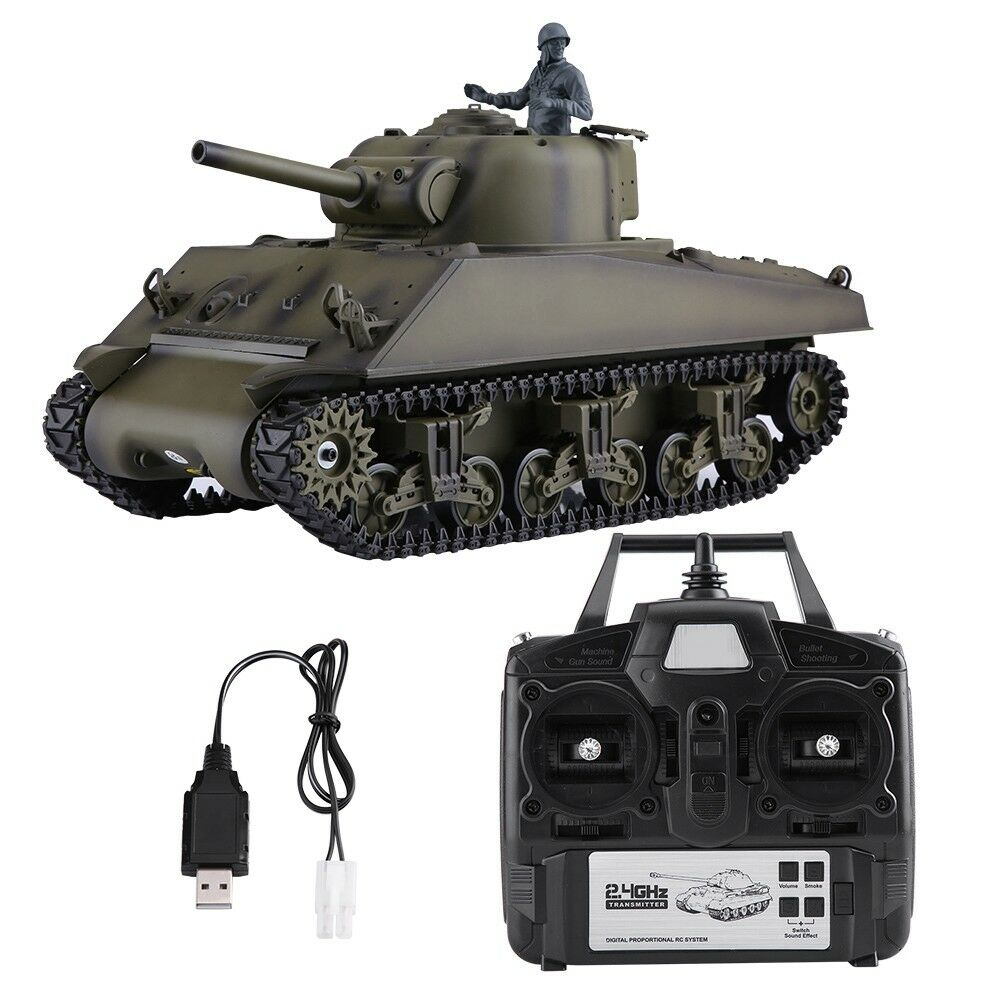 HengLong 3898-1 116 2.4Ghz EE. UU.  M4A3 RC Control Remoto Tanque de Batalla Modelo Juguete Regalo RTR
