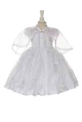 Baby Girls White Sequins Virgin Mary Christening//Baptism Cape /& Dress Set BPTK5