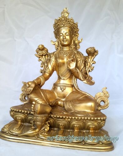 antique excellent Tibetan Green Tara Buddha Pure Bronze Old Statue