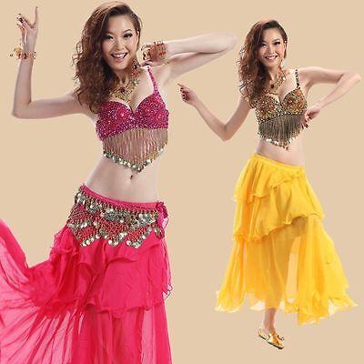 Bra+gonna+cintura Set Costume Danza Del Ventre Chiffon Crease-Resistance 4 Varianti Carnevale