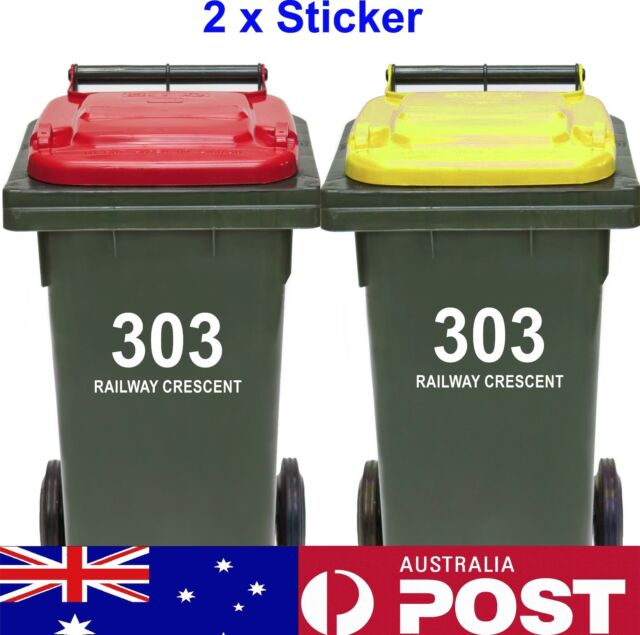 2x Rubbish Bin Sticker house number street name Decal Garbage wheelie bin sign
