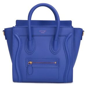 18a31fb1a6 Image is loading Celine-Nano-Luggage-Bag-in-Smooth-Indigo-Calfskin-