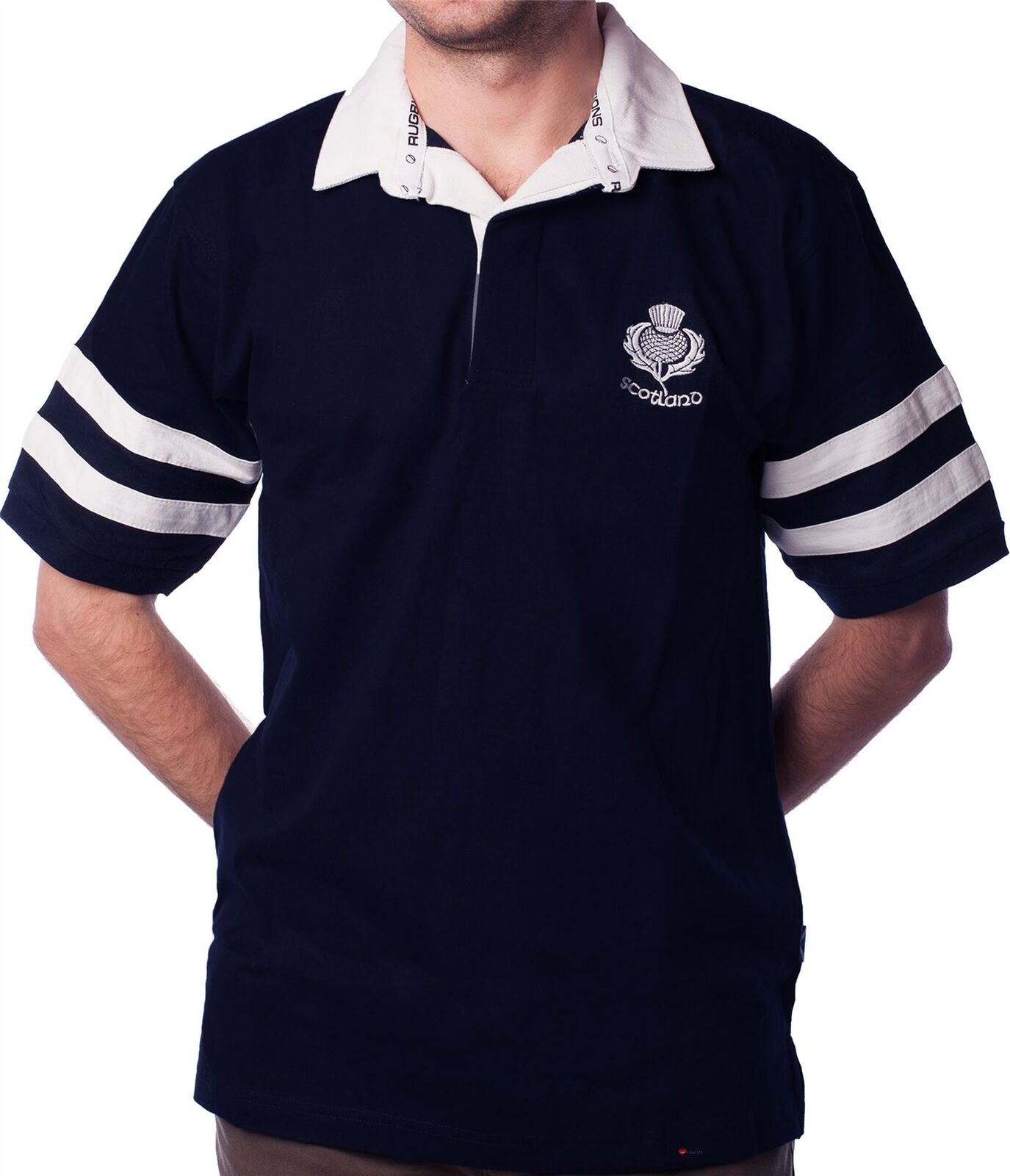 Gents Rugby Shirt Scotland Thistle Logo 2 Stripe Short Sleeve Navy Size Large