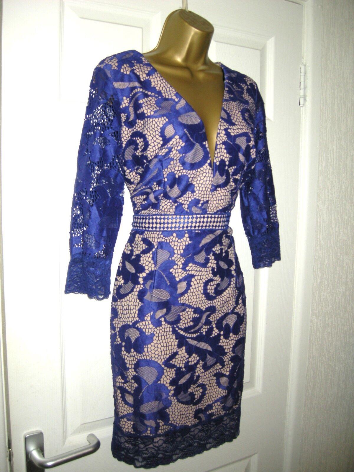 16 LITTLE MISTRESS blueE LACE MINI DRESS PLUNGE FRONT WEDDING HOLIDAYS CLASSY NEW