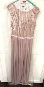 c243762f David's Bridal Lace Bodice Cap Sleeve Cameo Dusty Pink Long ...