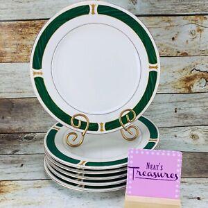 Sango-Majesty-Fine-China-MALACHITE-8420-Green-Gold-Border-Dinner-Plates-Set-6