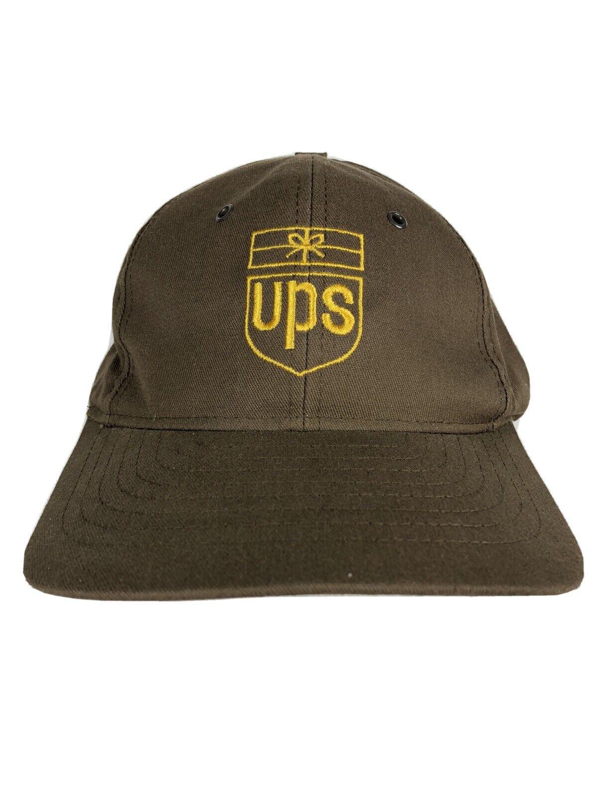 Vintage UPS Trucker Hat Delivery Driver 90s Brown Gift Box Design Snapback H7