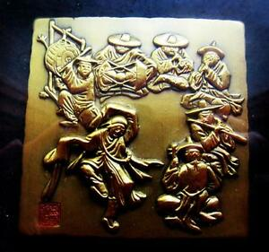 JAPANESE VINTAGE BRASS PLAQUE W 7 LUCKY GODS IN FRAME !PERFECT GIFT!