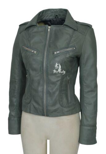 LUST Ladies Leather Jacket Grey Biker Style Tops Genuine Leather Slim fit Jacket