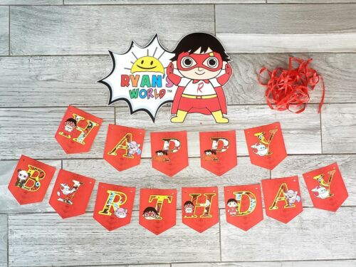 XL GIANT SIZE Banner 15 Flags Ryans World toy Birthday Party Decoration Supplies