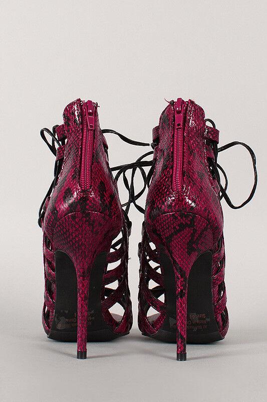 Turquoise Fuchsia Lace Snake Print Python Strappy Lace Fuchsia Up Caged Gladiator High Heel 8 887955