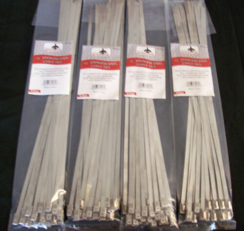 "100 GOLIATH INDUSTRIAL 12"" STAINLESS STEEL WIRE CABLE ZIP TIES STRAPS WHOLESALE"