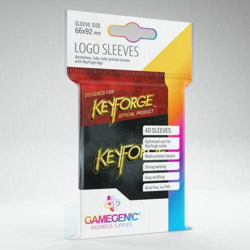 KeyForge Accessories 40 card sleeves per pack Black Logo Sleeves