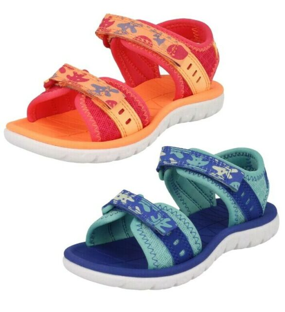 Girls Clarks Surfing Skies Berry or Aqua Synthetic Open Toe Sandals