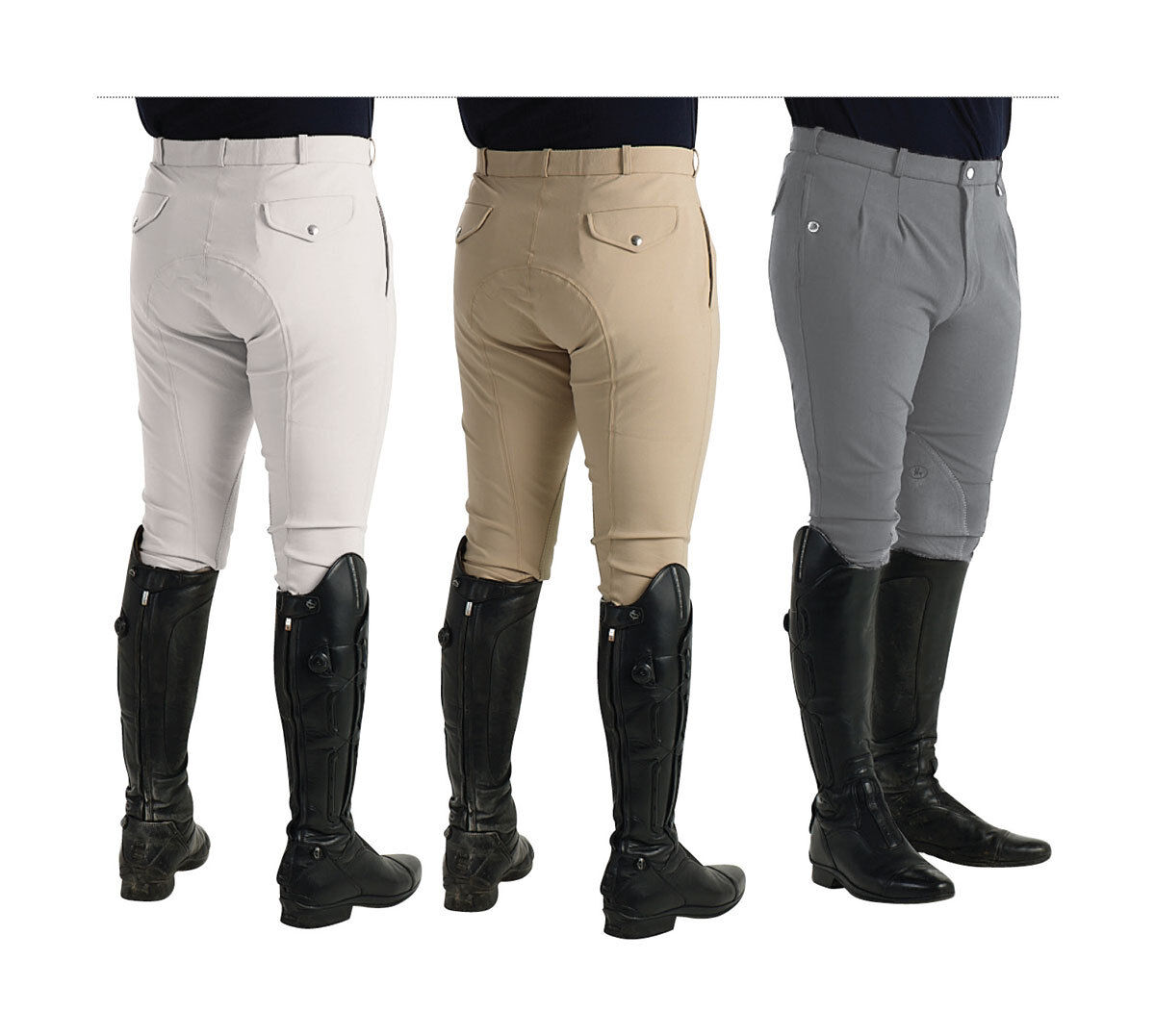 Hy PERFORMANCE JAKATA Men's Breeches Pleated Front Knee Patches  Grey Beige 28-38  honest service