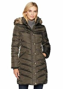 $530 Michael Kors Women Green Snap Front Down Faux Fur ...