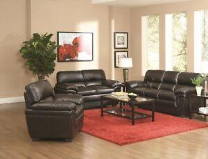 Modern 2Pc Black Faux Leather Sofa Set Sofa & Loveseat Living Room Furniture