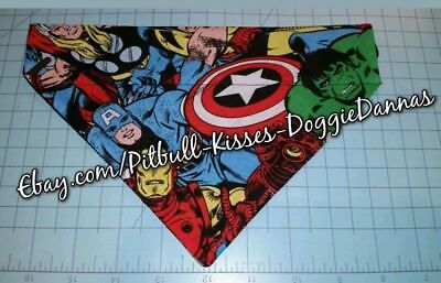 DOG CAT BANDANA MARVEL AVENGERS Thor Hulk Ironman Spiderman Sz XS-LOver Collar