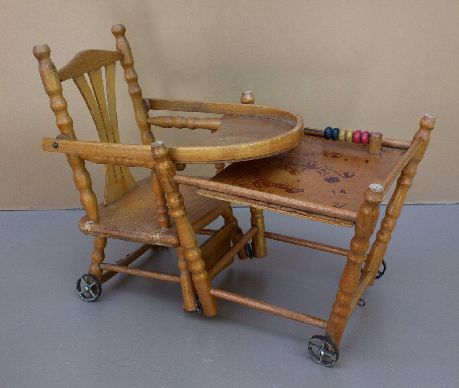 Ancienne chaise haute BOIS JOUET boulier boulier boulier vintage décor enfant pour poupée poupon 46c068