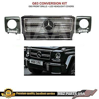 G63 GRILLE G-WAGON AMG BLACK CHROME STAR + LED HEADLIGHT COVERS SET FRAME  DRL | eBay
