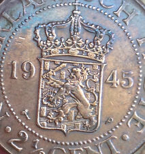 My coins -1945  Nederlandsch  Indie  2.1/2 cent copper crown size coin  ! aUNC!