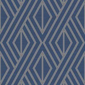 Papier-Peint-Geometrique-Bleu-Argent-Poire-Arbre-Studios-UK30522-Metallique
