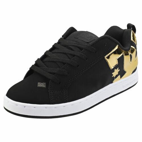 DC Shoes Court Graffik Womens Black Gold Skate Trainers 6 UK