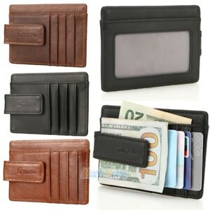 a93b4dd7847b Details about Mens Leather Wallet Money Clip Credit Card ID Holder Front  Pocket Thin Slim NEW