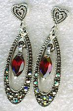 """925 Sterling Silver Marcasite & Garnet Drop / Dangle Earrings   1.1/4"""" LENGTH"""