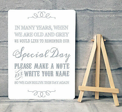 Vintage Wedding Guest Book Table Sign With Wooden Easel A4 Aluminium, Black