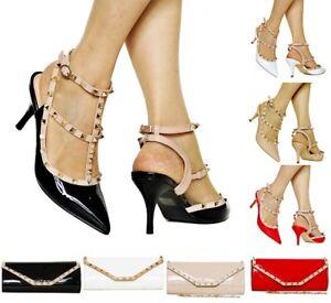 9975c3b1 Mujer Fiesta con Tachuelas Charol bajo Zapatos de Salón Tacón Medio