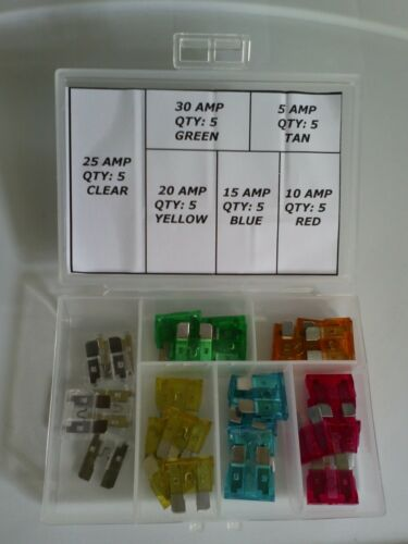 5-30 Amps Pontiac Box of 30 Blade Fuses Kit Electrical Panel Assortment