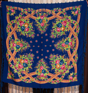 Russian-shawl-Floral-blue-chale-russe-Chic-Fringed-Scarf-foulard-russe-Manton
