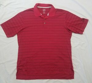 Adidas-Golf-Mens-Red-Striped-Short-Sleeve-Polo-Golf-Shirt-Size-X-Large-XL