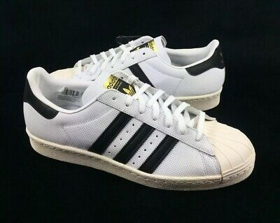 100% authentic a45b0 78adb NEW Adidas Superstar 80s White Black Gold Shoes Sneakers Mens Size 11.5  BZ0144 190309459354 | eBay