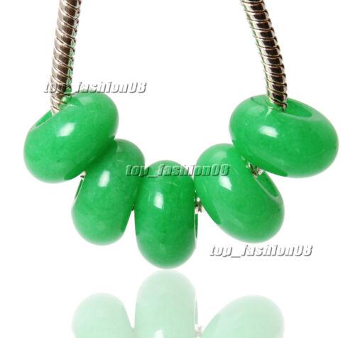 Wholesale Lots 5 pcs 5mm Big Hole Green Jade 8x15mm Ring Beads High Polished