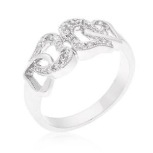 14K-White-Gold-GB-Linked-Double-Heart-Simulated-Diamond-Size-6-Promise-Ring-G105