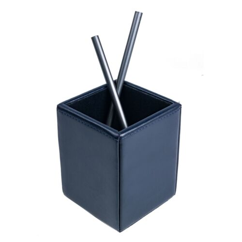 Navy Blue Bonded Leather Pencil Cup