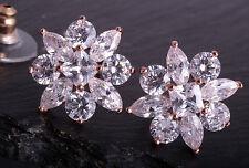 Ohrringe Ohrstecker Damen Ohrschmuck Rose Rosegold Farbe mit Zirkonia Steinen