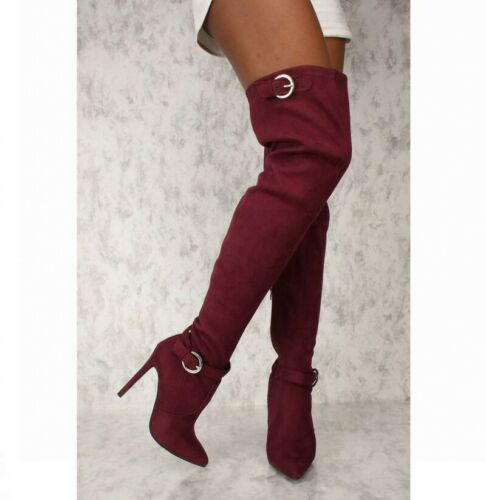 Women/'s High Stiletto Heel Pointy Toe Over Knee Thigh Boots Shoes Buckle Cosplay