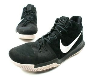 new style 6aaee 59df0 Details about Nike Kyrie 3 Black White Zoom Suede Basketball Shoes Mens  Size 13 852395-010