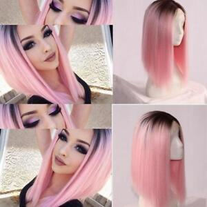 Damen-Ombre-Kurz-Haar-Peruecke-Bob-Kunsthaar-Glatt-Straight-Wig-Cosplay-Fasching