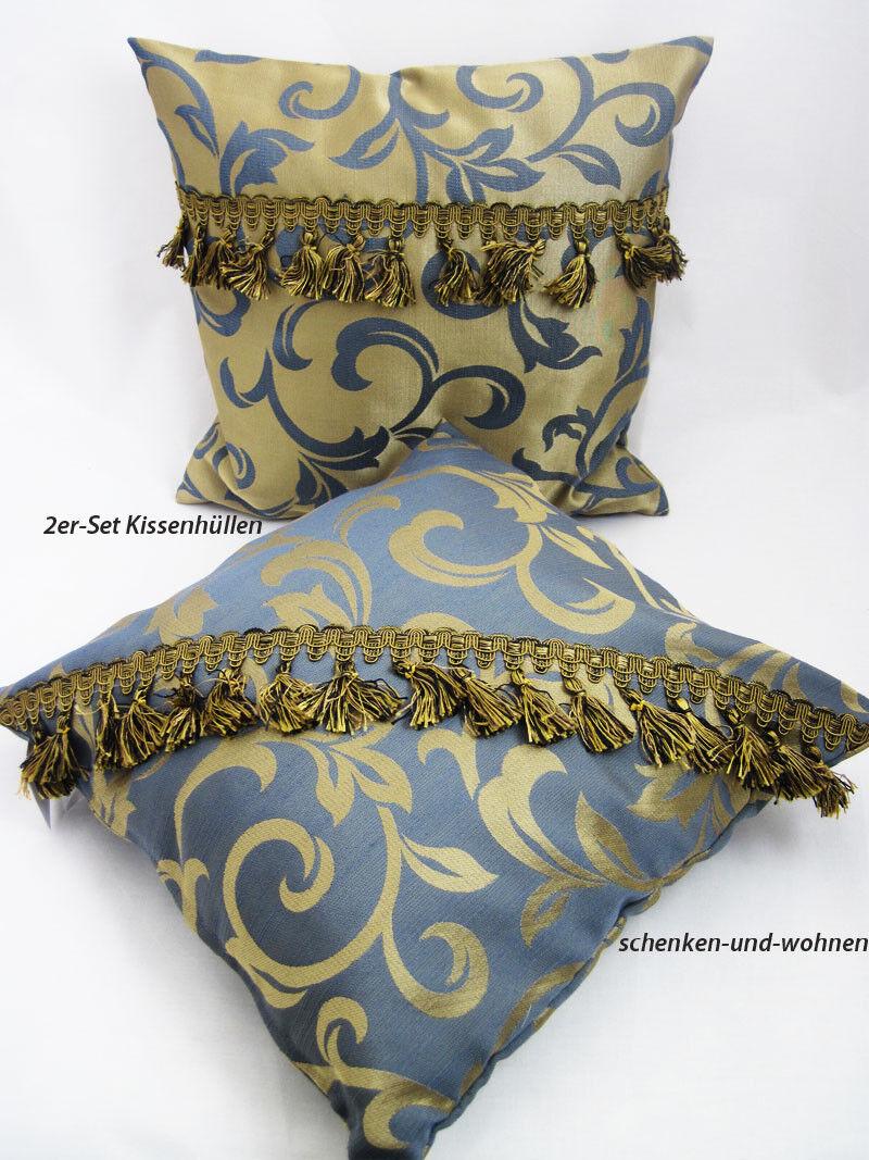 2er-Set Kissenhüllen grau Gold mit Ornamentmuster ca. 40 40 40 x 40 cm | Marke  8c6e2c