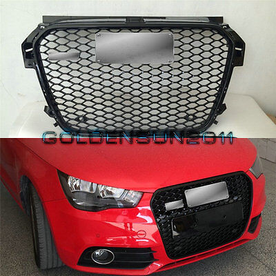 RS1 Front Sportback Black Honeycomb Grille Chrome Frame For Audi A1 2013-2015 AA