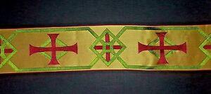 Vintage-Frances-Orphrey-Cruz-Diseno-Rojo-Verde-Banda-Vestment-Seda-8-3cm-Ancho