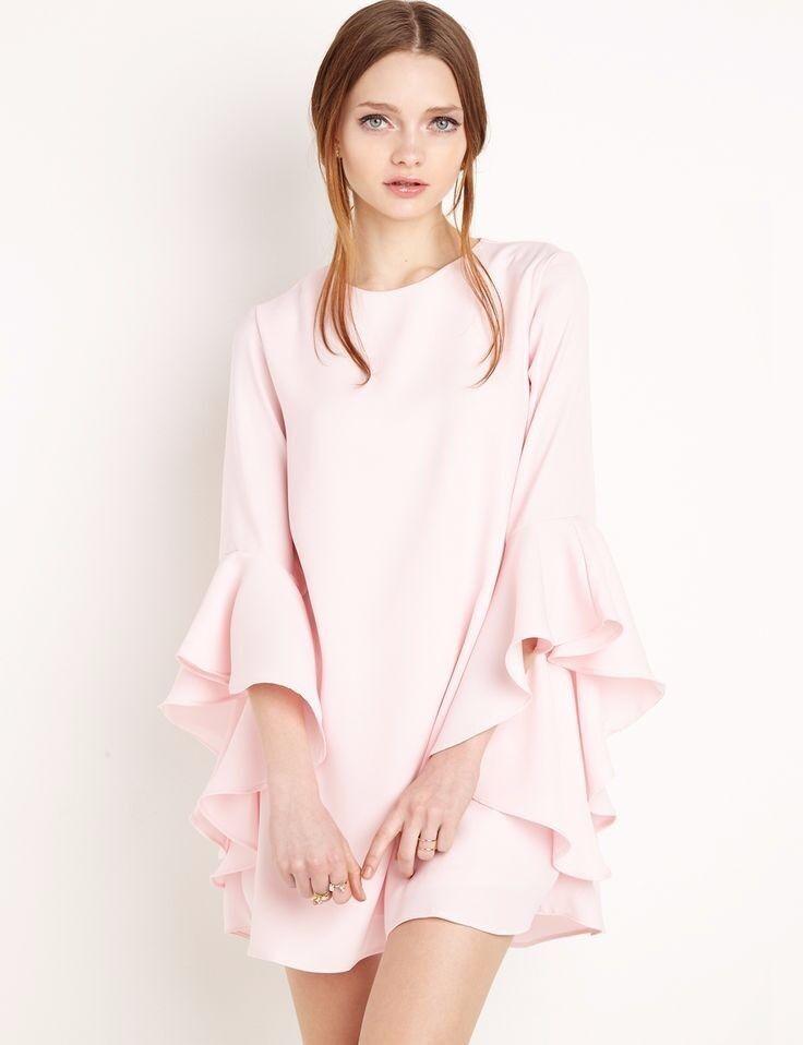 Pixie Market New Revival Pink Bell Sleeve Dress Ruffled Mini Mini Mini Dress Sz XS Ori 122 c4497e