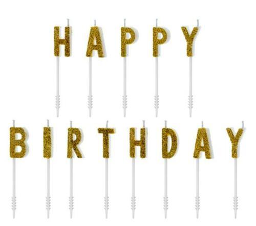 13 Kuchenkerzen Happy Birthday Gold